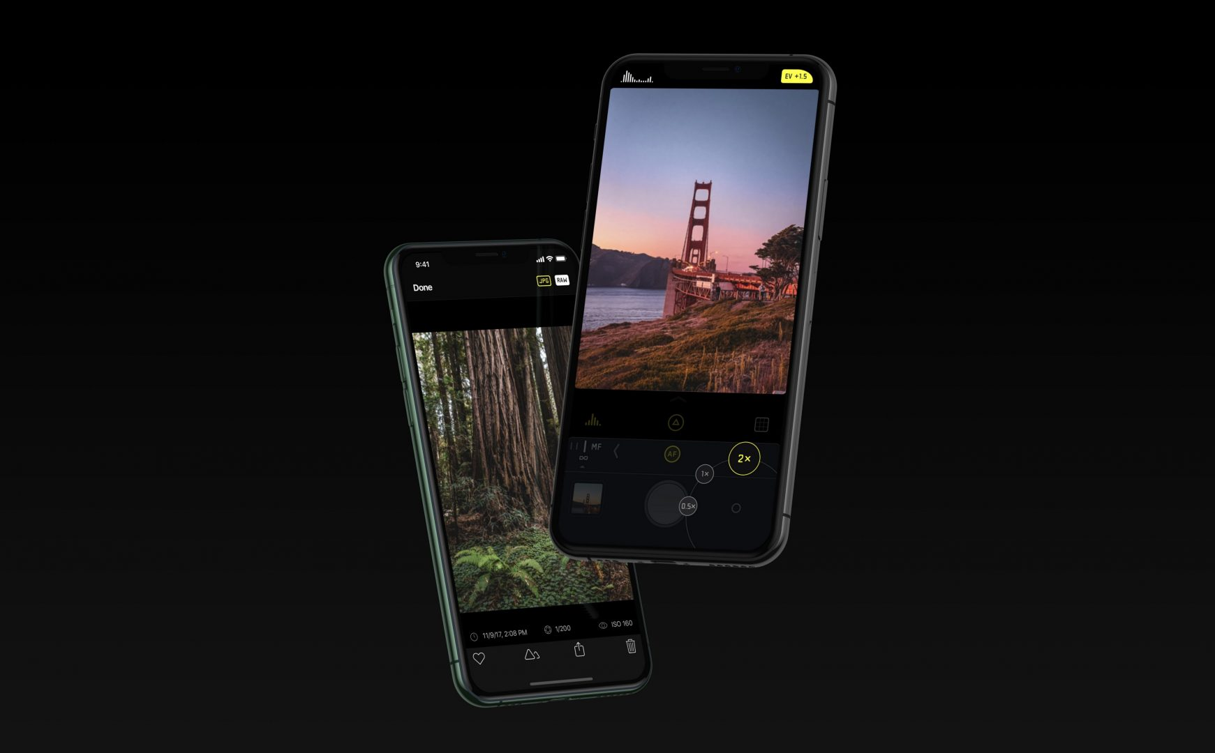 two iphone 11 with black background   video editing apps